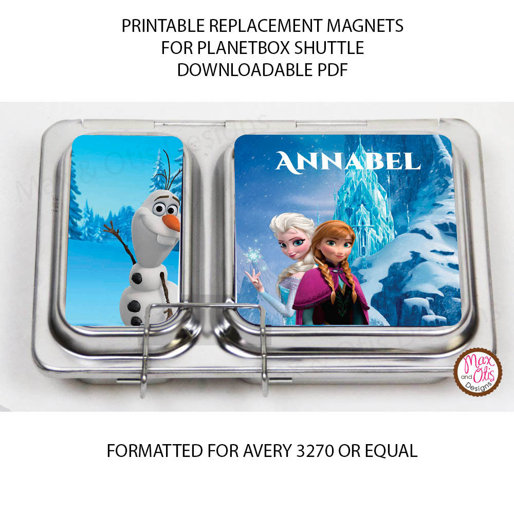PlanetBox Shuttle Personalized Magnets - Disney's Frozen - Max & Otis Designs