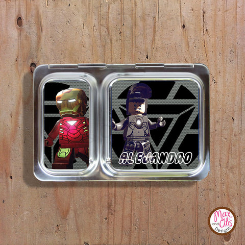 PlanetBox Shuttle Personalized Magnets - Lego Iron Man - Max & Otis Designs