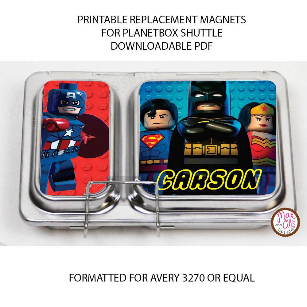 planetbox shuttle personalized magnets lego superheroes max otis designs