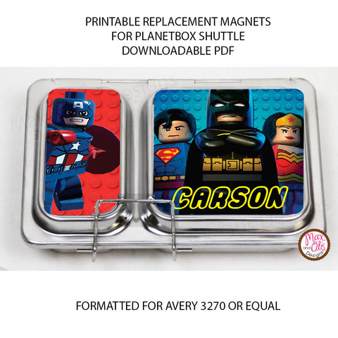 PlanetBox Shuttle Personalized Magnets - Lego Superheroes - Max & Otis Designs
