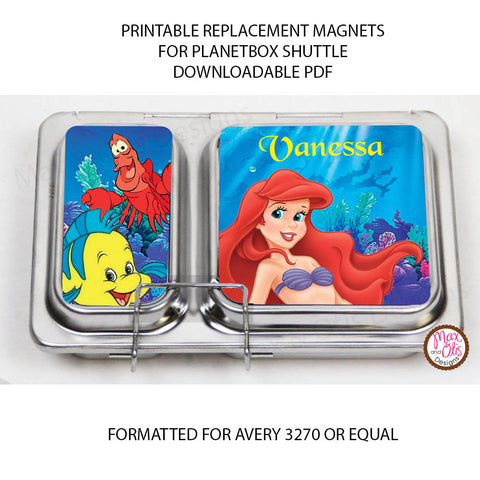 PlanetBox Shuttle Personalized Magnets - Little Mermaid - Max & Otis Designs