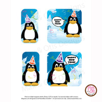PlanetBox Shuttle Personalized Magnets - New Year Penguins - Max & Otis Designs