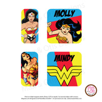 PlanetBox Shuttle Personalized Magnets - Wonder Woman - Max & Otis Designs