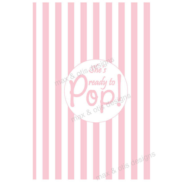 Baby Shower Invitation - She's ready to POP! Pink (editable PDF) - Max & Otis Designs