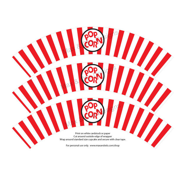 photograph regarding Printable Cupcake Wrappers known as Printable Cupcake Wrappers - Popcorn Bucket (Various Shades)