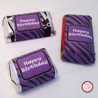 Printable Hershey Nuggets Stickers - Purple Zebra Stripe - Max & Otis Designs