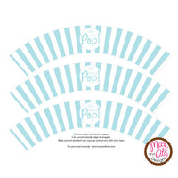 "Printable Cupcake Wrappers - Popcorn ""She's ready to POP!"" (Assorted Colors)"