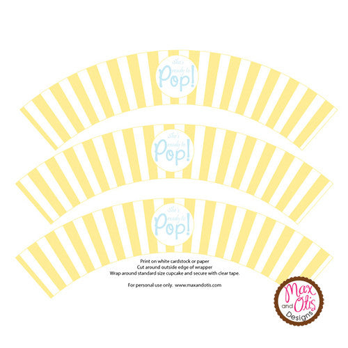 graphic about Ready to Pop Printable identify Printable Cupcake Wrappers - Popcorn