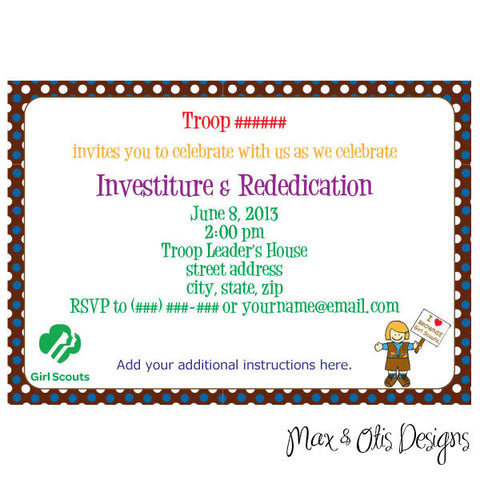 Girl Scout Brownie Editable Invitation (editable PDF) - Max & Otis Designs