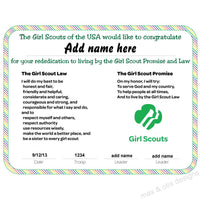 Girl Scout Re-dedication Printable Certificate (editable PDF) - Max & Otis Designs