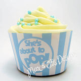 "Printable Cupcake Wrappers - Popcorn ""She's about to POP!"" (Assorted Colors) - Max & Otis Designs"