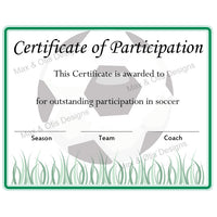 Soccer Certificate of Participation (Editable PDF)