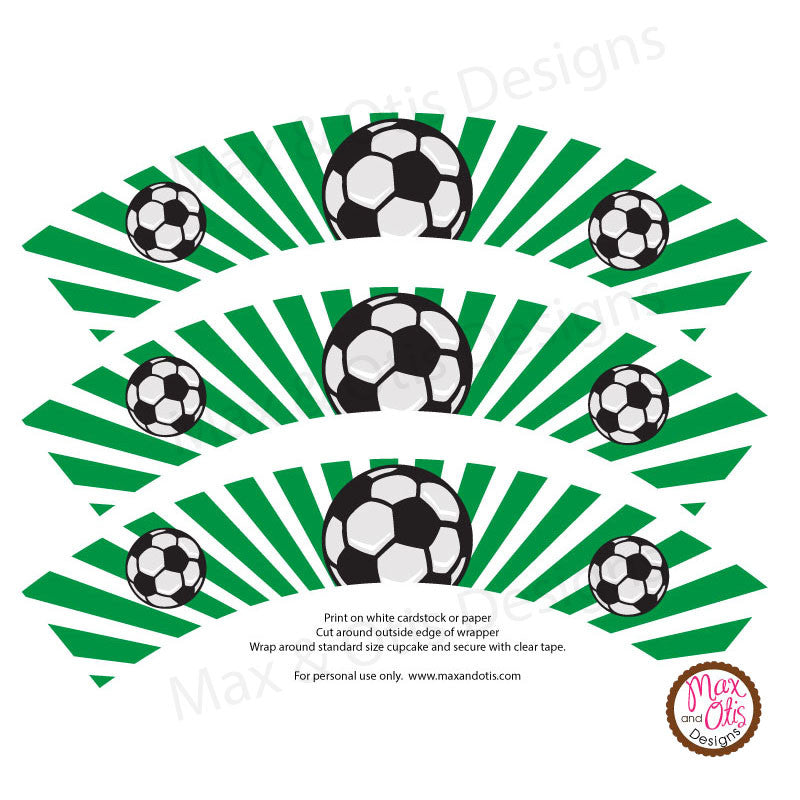 Printable Cupcake Wrappers - Soccer
