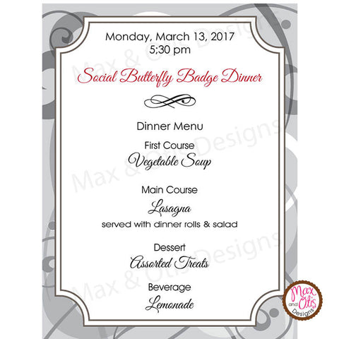 Girl Scout Junior Social Butterfly Menu (editable PDF)