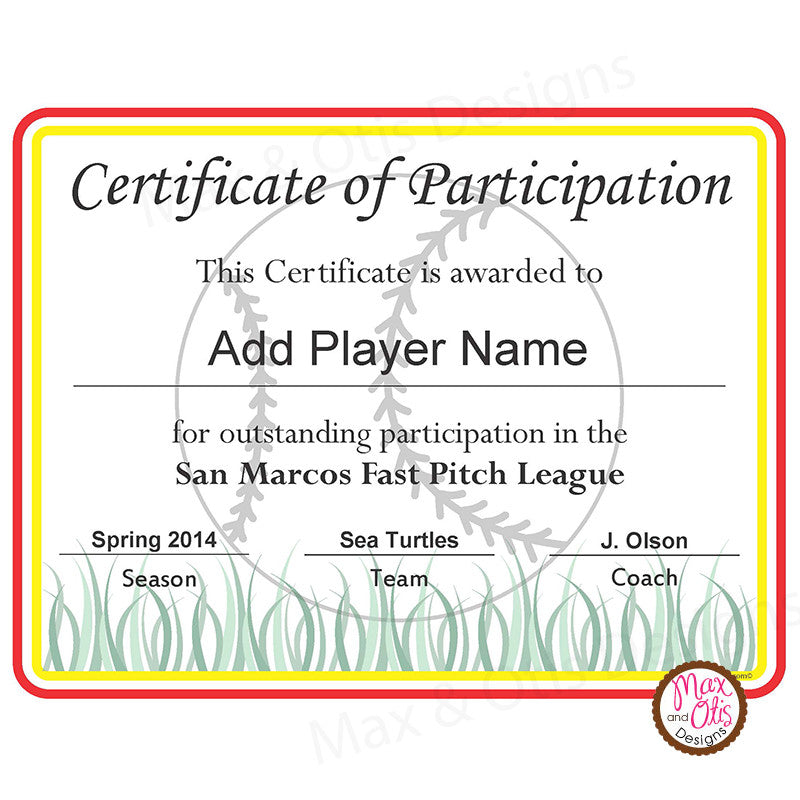 softball certificate of participation editable pdf max otis