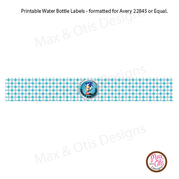 Printable Water Bottle Wrappers Sonic The Hedgehog Max Otis Designs