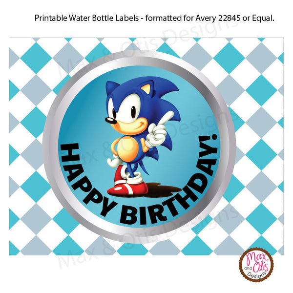Printable Water Bottle Wrappers - Sonic the Hedgehog - Max & Otis Designs