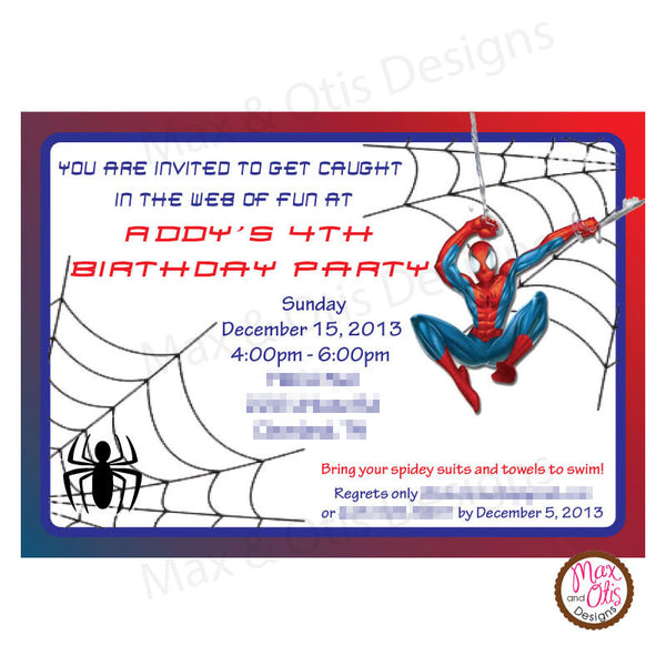 Spiderman Birthday Party - Custom Invitation Printable - Max & Otis Designs