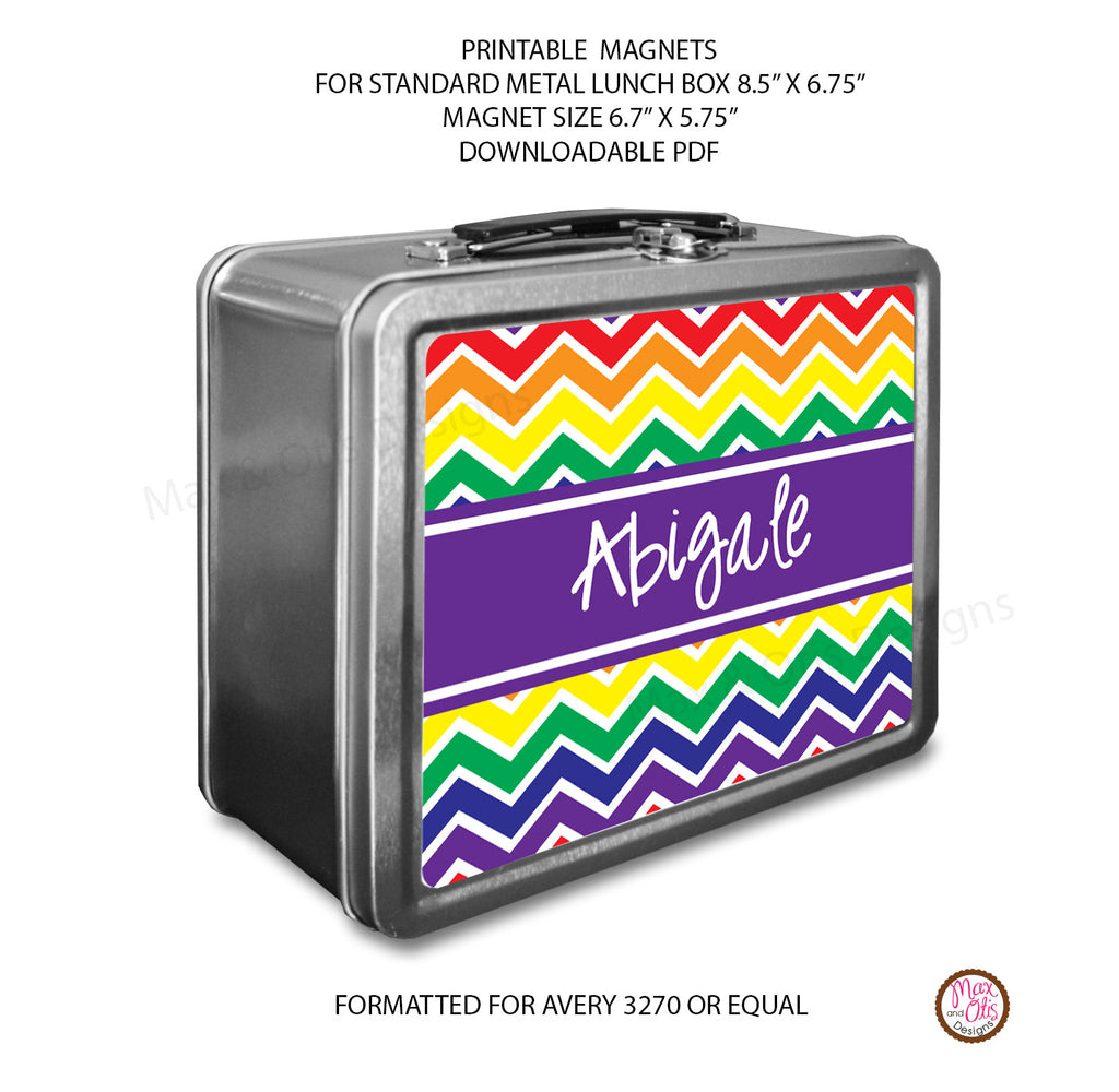 Standard Lunch Box Personalized Magnets - Chevron (Rainbow)