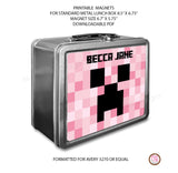 Standard Lunch Box Personalized Magnets - Minecraft Creeper (Pink) - Max & Otis Designs