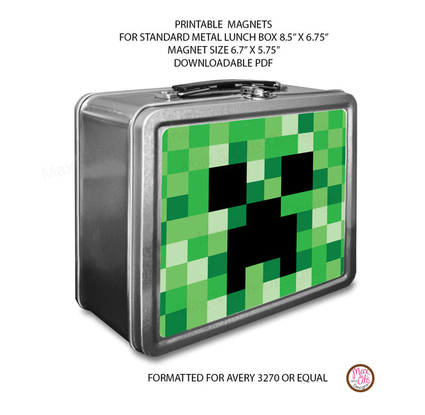 Standard Lunch Box Personalized Magnets - Minecraft Creeper - Max & Otis Designs