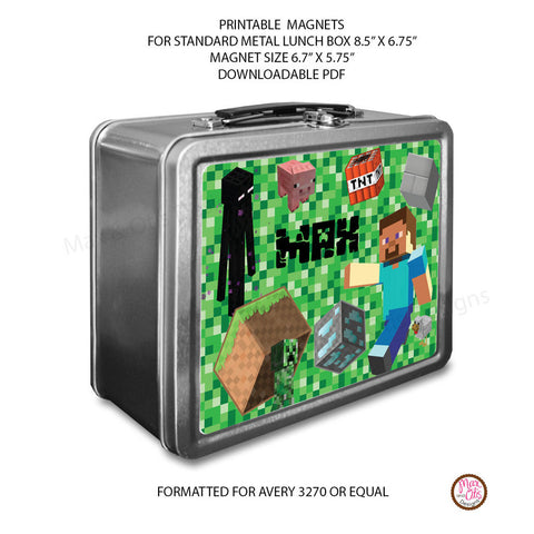 Standard Lunch Box Personalized Magnets - Minecraft - Max & Otis Designs