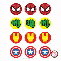 "Printable 2"" Tags & Labels - Superhero Party (Assorted designs) - Max & Otis Designs"