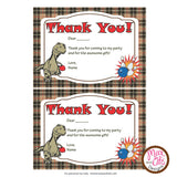 Printable Thank You Card - Dinosaur Bowling  (editable PDF) - Max & Otis Designs