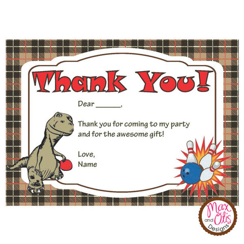 Printable Thank You Card - Dinosaur Bowling  (editable PDF)