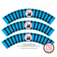 Printable Cupcake Wrappers - Happy Birthday Train - Max & Otis Designs