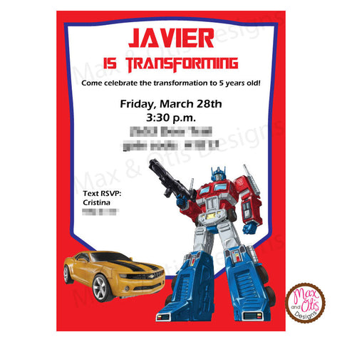 Transformers Birthday Party Invitation Printable editable PDF