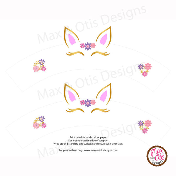 Printable Cupcake Wrappers - Unicorn - Max & Otis Designs