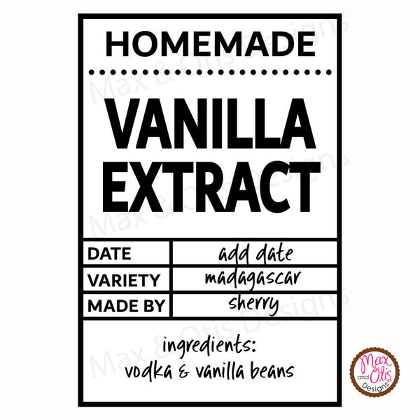 Printable Homemade Vanilla Labels (Editable PDF) - Max & Otis Designs