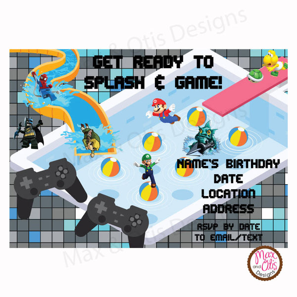 Video Game Pool Party - Custom Invitation printable - Max & Otis Designs