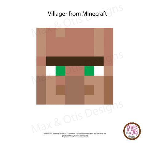 Minecraft Villager Printable Box Head - Max & Otis Designs