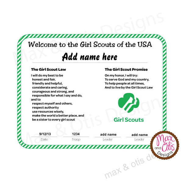 Girl Scout Welcome to Girl Scouts Printable Certificate (editable PDF) - Max & Otis Designs