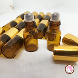3 ml Amber Glass Roll-on Bottles with Metal Rollers (Wholesale Lot of 240) - Max & Otis Designs
