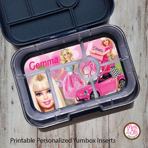 Yumbox Personalized Laminated Inserts - Barbie - Max & Otis Designs
