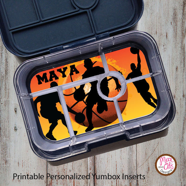 Yumbox Personalized Laminated Inserts - Basketball - Max & Otis Designs
