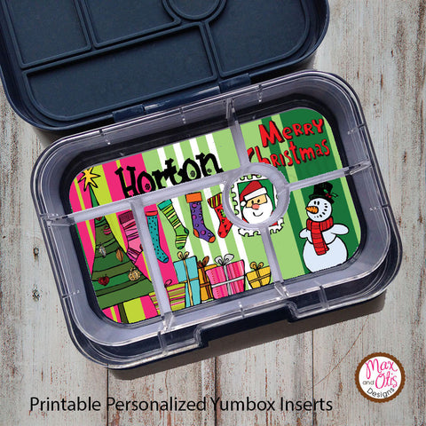Yumbox Personalized Laminated Inserts - Christmas