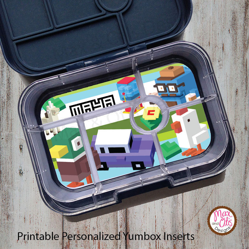 Yumbox Personalized Laminated Inserts - Crossy Road - Max & Otis Designs