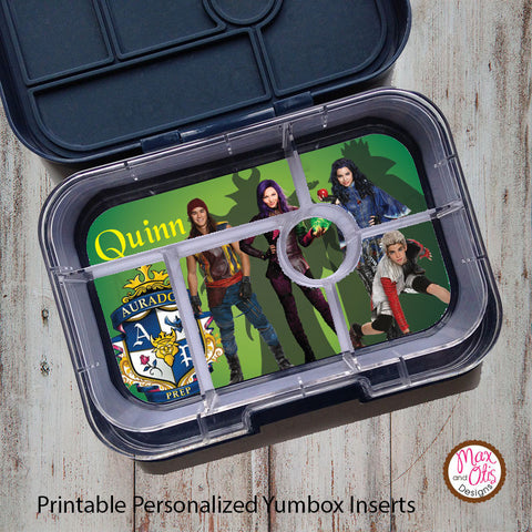 Yumbox Personalized Laminated Inserts - Disney's Descendants - Max & Otis Designs