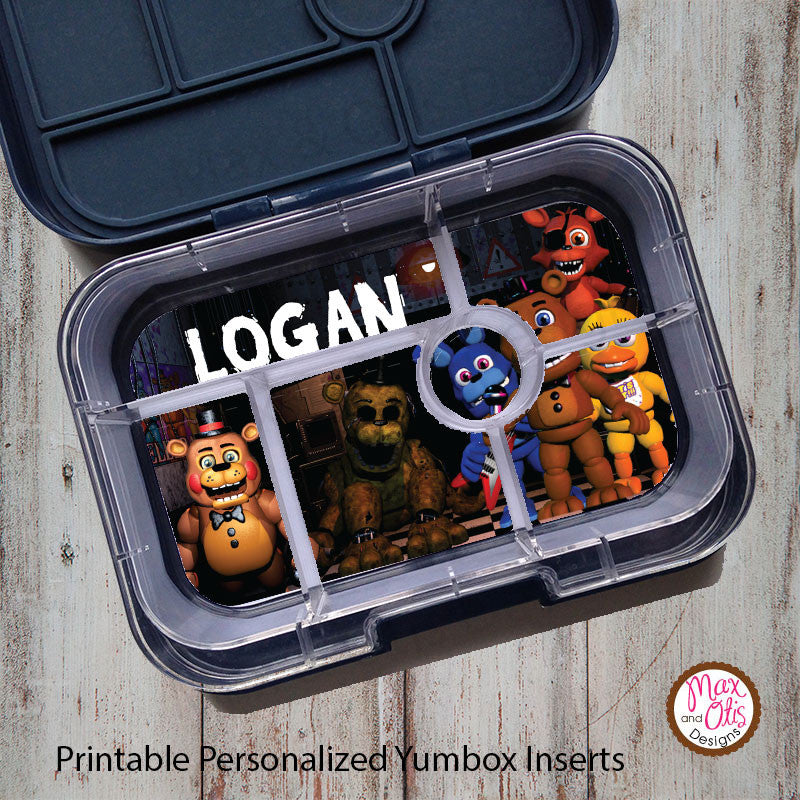 Yumbox Personalized Laminated Inserts - Five Nights at Freddy's