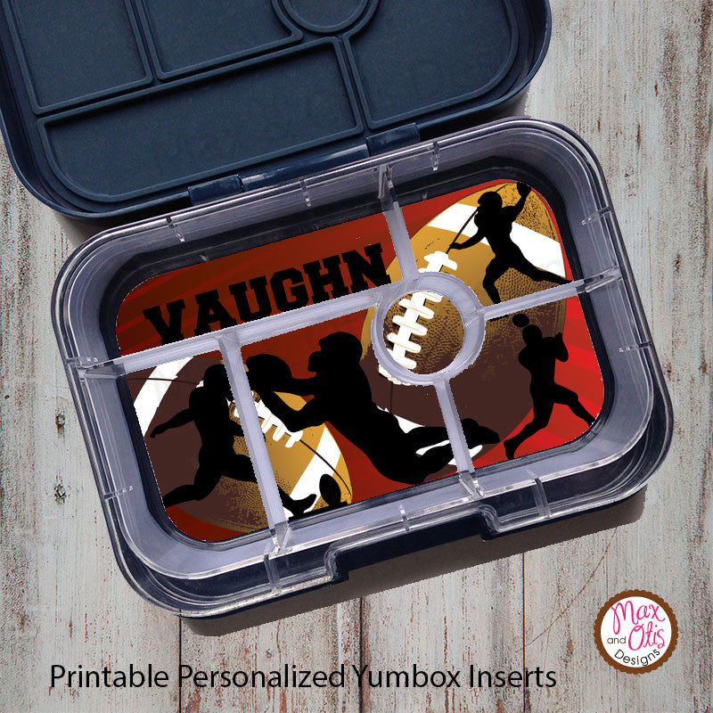 Yumbox Personalized Laminated Inserts - Football - Max & Otis Designs
