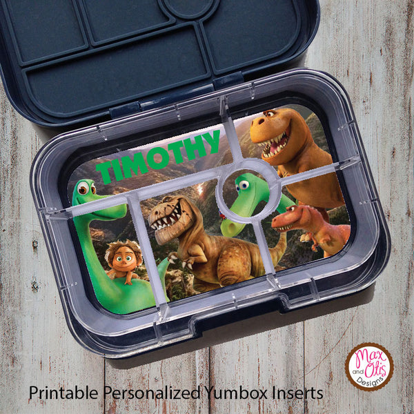 Yumbox Personalized Laminated Inserts - The Good Dinosaur - Max & Otis Designs