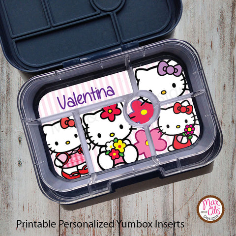 Yumbox Personalized Laminated Inserts - Hello Kitty - Max & Otis Designs