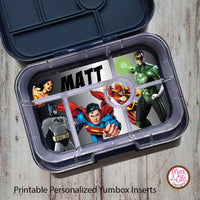 Yumbox Personalized Laminated Inserts - Justice League - Max & Otis Designs