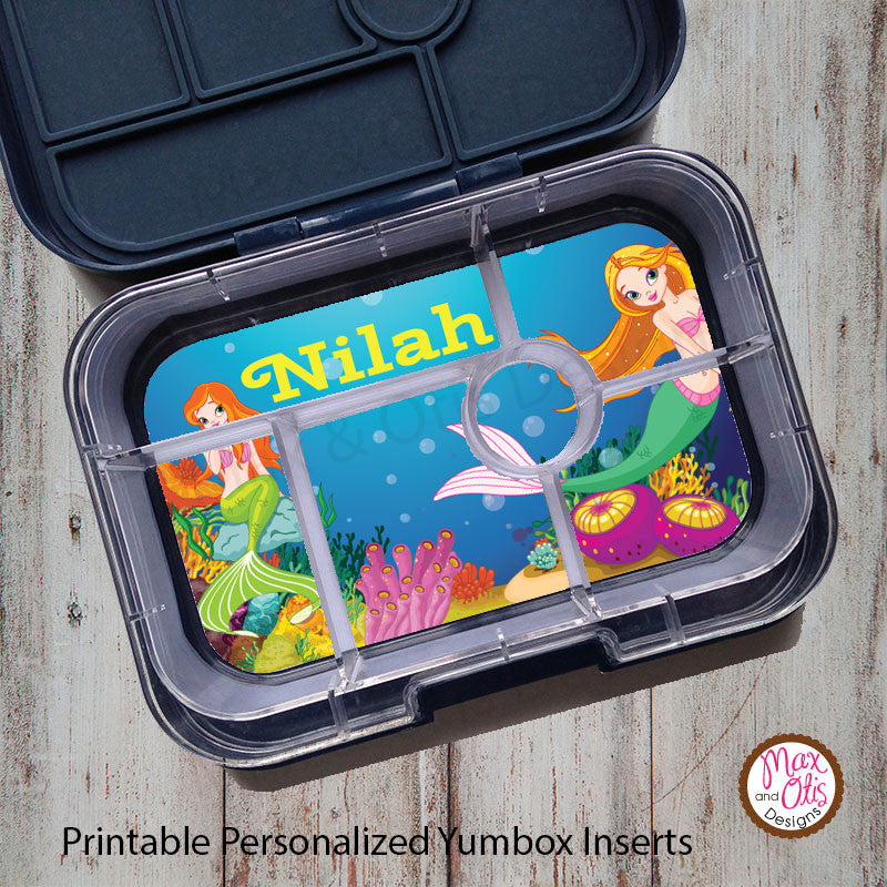 Yumbox Personalized Laminated Inserts - Mermaid - Max & Otis Designs
