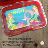 Yumbox Personalized Laminated Inserts - Mermaid