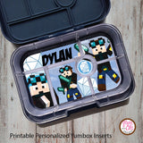 Yumbox Personalized Laminated Inserts - Minecraft Dan TDM - Max & Otis Designs